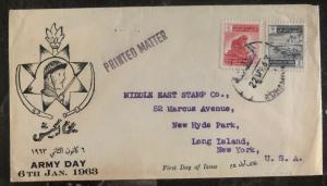1963 Bagdad Iraq First Day Cover FDC To Long Island NY USA Army Day MXE