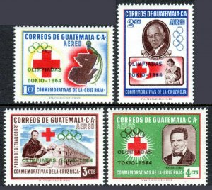 Guatemala C283-C286, MNH. Red Cross. Olympic Games, Tokyo. Ovptd. 1964