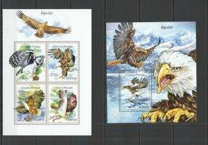 ST1658 2014 S. TOME & PRINCIPE BIRDS FAUNA EAGLES KB+BL MNH STAMPS