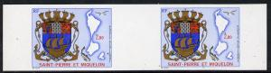 St Pierre & Miquelon 1974 Arms & Map 2f imperf pr...