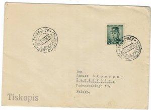Czechoslovakia 1946 Cover to Poland Cancellation Second World War II Aviation