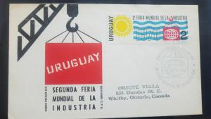 L) 1970 URUGUAY, SECOND WORLD INDUSTRY FAIR, MACHINE, 2 PESOS, SUN, BUILDING