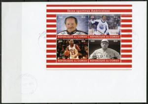 CONGO  2018 AMERICAN ICONS OF SPORT BABE RUTH JORDAN GRETZKY   SHEET FDC