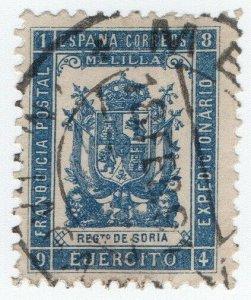 (I.B-CK) Spain Colonial Postal : Melilla Military Post (Soria)