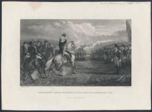 G.W. TAKING COMMAND OF THE ARMY AT CAMBRIDGE 1775 SCENE ENGRAVED ESSAY BR6404