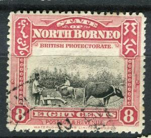 NORTH BORNEO; 1909 early Pictorial issue fine used 8c. value + Postal cancel