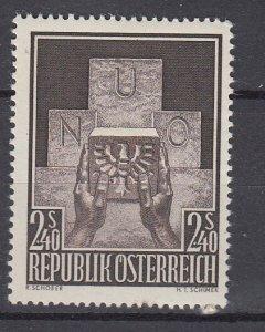 J29496, 1957 austria set of 1 mh #610 the un