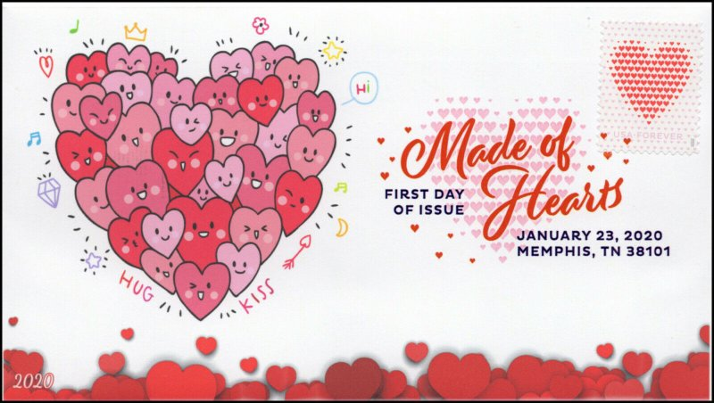 20-022, 2020, SC 5429, Made of Hearts, Digital Color Postmark, FDC, Love, Hearts