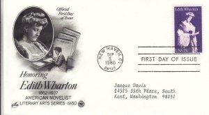 1980, Honoring Edith Wharton, Artcraft/PCS, FDC (D12977)