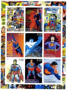 Tadjikistan 2000 Superman Comics Sheet (9) Imperforated mnh.vf