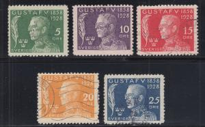 Sweden Sc B32-B36 used 1928 King Gustaf V Birthday, Semi-Postals complete, F-VF