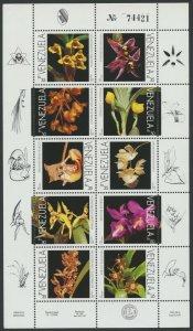 Venezuela 1995 MNH Miniature Sheet | Scott 1518 | Orchids Flowers