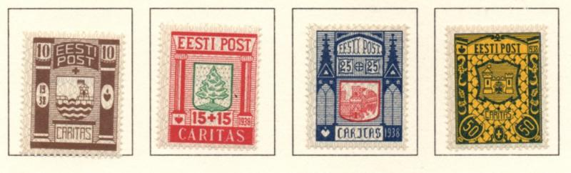 Estonia Sc B36-9 1938 Coats of Arms Charity stamp set mint