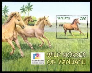 VANUATU 803b MNH S/S SCV $4.25 BIN $2.50 WILD HORSES