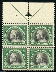 UNITED STATES $5  FRANKLIN   SCOTT#524 ARROW LINE BLOCK MINT LIGHT HINGED OG