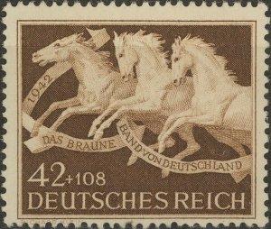 Stamp Germany Mi 815y Sc B205 1942 WW2 Reich Brown Ribbon Race White-Gum MNH