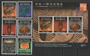 1996 New Zealand - Sc 1329-34,1333a - MNH VF - 6 singles/SS - Maori Crafts