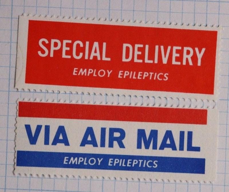 Special Delivery Airmail Etiquette Label seal charity employ epileptics epilepsy