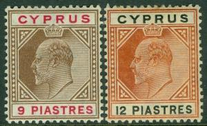 CYPRUS : 1904-10. Stanley Gibbons #68-69 Very Fine, Mint OGH. Catalog £88.00.