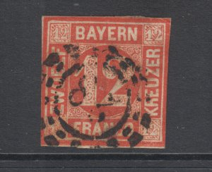 Bavaria Sc 7 used 1858 12kr red Numeral with 28 in Millwheel cancel, F-VF