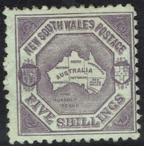 NEW SOUTH WALES 1890 MAP 5/- WMK 5/- NSW IN DIAMOND PERF 10