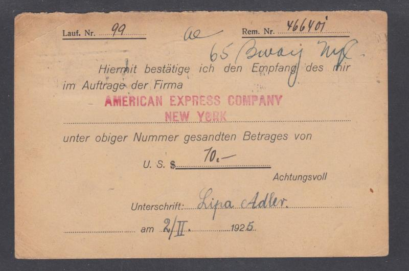 Austria Sc 280, 281 perfin WB/V used 1925 American Express Response Post Card
