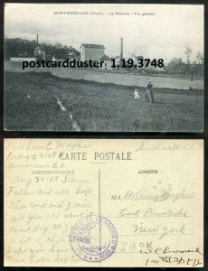 3748 - FRANCE Montmorillon 1918 La Brasserie. Brewery AEF Soldier Censored Mail