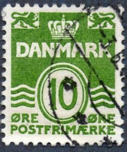 Denmark Scott #318 10o Waves and Numeral of Value (1950) Used