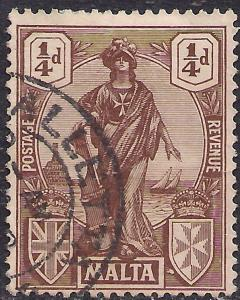 Malta 1922 - 26 KGV 1/4d Brown Emblematic Statue SG 123 ( G1249 )