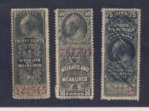3x Canada Revenue Weights & Measures Stamp; #FWM38-39-40. Guide Value = $62.00