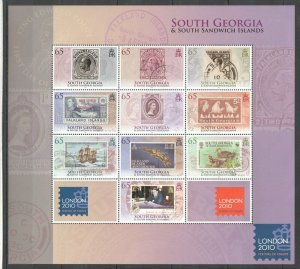 NW0107 2010 SOUTH GEORGIA FESTIVAL STAMPS ON STAMPS !!! MICHEL 26 EURO 1SH MNH