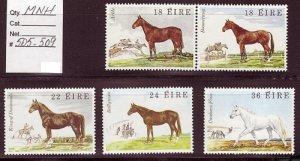 IRELAND SC# 505-509 HORSES MNH