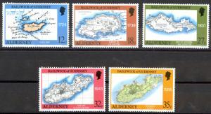 Alderney Sc# 37-41 MNH 1989 Maps