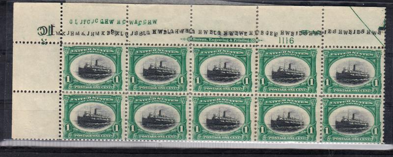#294 Plate block of 10 Fresh and NH