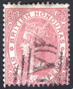 Br Honduras 1865 6d Rose No Wmk Scott 3 SG 3 VFU Cat $195