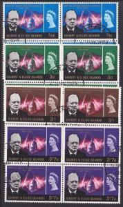 GILBERT & ELLICE IS 1966 Churchill set blocks of 4 fine used...............67966