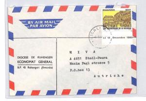 CA224 RWANDA Cover 1980 90f INDEPENDENCE Top Value *Ruhengere* MISSIONARY MAIL