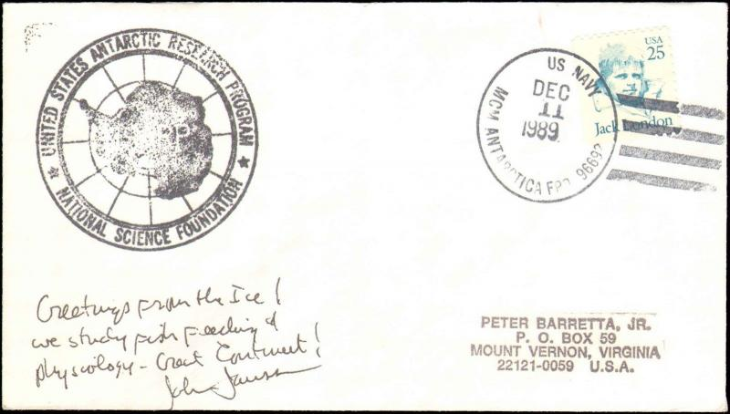 1989 US NAVY ANTARCTIC CACHET + NOTE + SIGNED