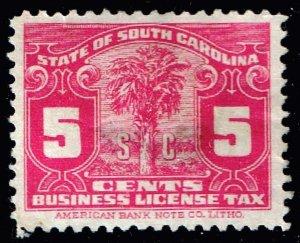 US STAMP REVENUE STATE OF SOUTH CAROLINA BUSINESS LICENSE TAX PAID STAMP