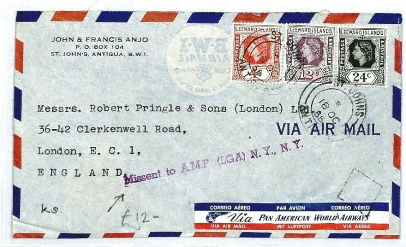 LEEWARD ISLANDS St John's GB London Missent USA New York Laguardia 1955 CW240