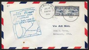 UNITED STATES #C7 on First Flight Cover 1928 Detroit to Kalamazoo