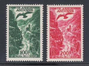 French Andorra Sc C2-C3 MLH. 1955 Valira River & Eagle Air Post, VF