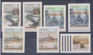 canada USC #1256-9,1256b,1257as & 1258as Mint VF-NH Cat. $24,55 1989 Christmas