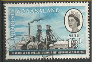 RHODESIA AND NYASALAND, 1961, used 1sh3p, Mining surface. Scott 179
