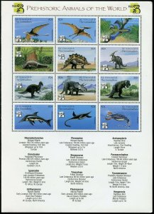 ST. VINCENT GRENADINES PREHISTORIC ANIMALS  OF THE WORLD SHEET MINT NH