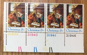 US #1414 PB (MNHOG) [Plate Block Mint No Hinge Original Gum] Christmas