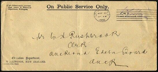 NEW ZEALAND 1906 Official cover Education Dept - Wellington Penny Postage..95706