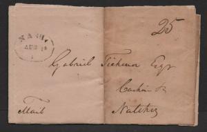$Nashville Tenn stampless cover Aug. 14, 1818, rough shape