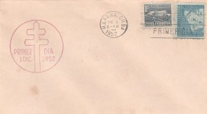 1952 Cuba Stamps Fighting Tuberculosis Child,Cross and Light blue FDC