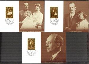 Liechtenstein 1981 Royal Family 3 Maxi Cards FDC